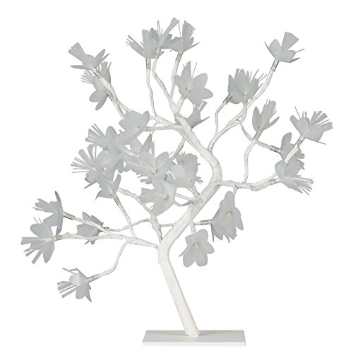 MiniSun – Decorativa lámpara de mesa de estilo bonsái blanco en flor - 32 luces LED blanco cálido y 450mm de alto