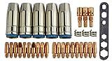 mig/mag usura parti Set adatto MB25| 32pezzi | 5X GAS ugello ugello corrente | 3X BOCCHETTA Stock | 10X corrente M60,8mm | 10X M61,0mm | 3X LEGACCI piuma | 1X strumento | Adatto a ML 2500, G25, SB 25, SB 250, TBI 250e molti più simili...
