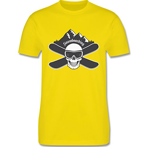 Wintersport - Snowboard Totenkopf - Herren Premium T-Shirt Lemon Gelb