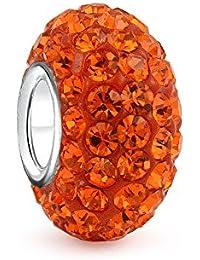 Espaciador De Color Naranja Brillante Sólido Abalorio Core 925 El Encanto Encaja Pulsera Europea para Mujer Adolescente