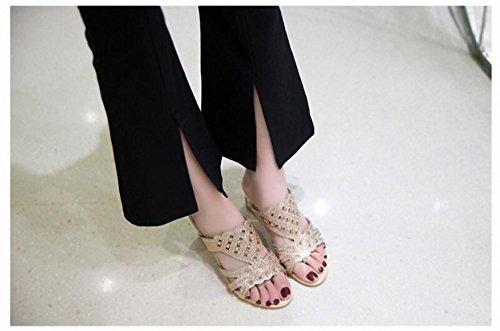 2017 Sommer neue ultra-flachen Mund Codegröße 32-46 Damen Sandalen und Pantoffeln flacher Mund Gold Yo4us