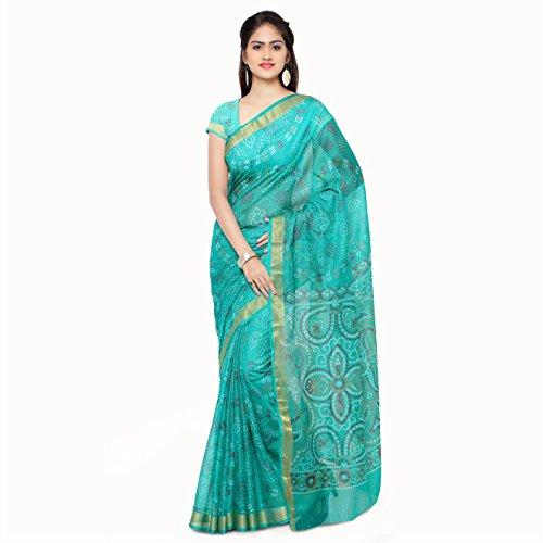 Rajnandini Women's Bandhani Printed Kota Silk Cotton Saree(JOPLSRS1051H_Teal Green_Free Size)