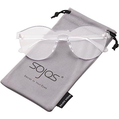 SOJOS Runde Sonnenbrille Farbig Schick Design Süßigkeit Damen SJ2056 Klar