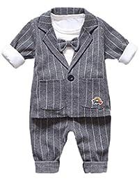 Oyedens Ensemble Bébé Garçon 3 Pcs Vêtements Bébé Naissance Baptême Costume  Chemise Bowtie Top Blazer Manteau + Pantalon c74986386e3