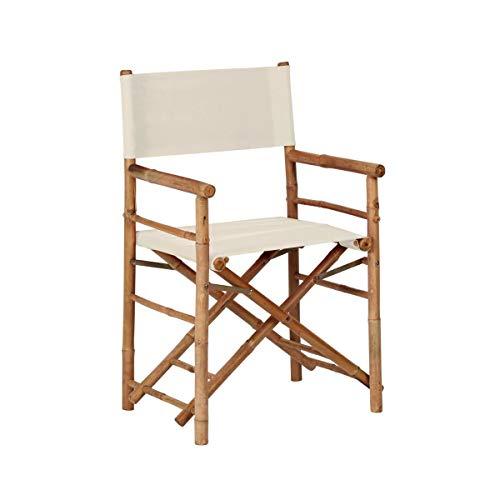 BUTLERS Bollywood Regiestuhl, 93x75x156 cm - Cremefarbener Stuhl aus Bambus und Baumwolle - Klappbarer Campingstuhl