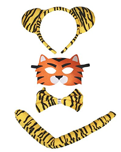 Petitebelle Little Tiger Headband Mask Bowtie Tail 4pc Costume for Child (One Size)