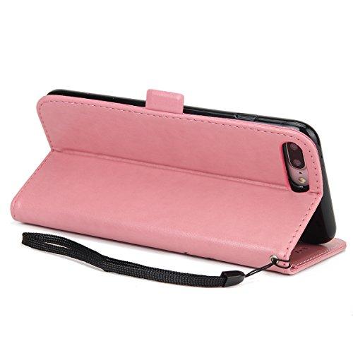 Felfy Lanyard Brieftasche für iPhone 7 Plus,iPhone 7 Plus Handyhülle Elegante Retro,iPhone 7 Plus Schutzhülle Flip Cover Wallet Folio Hit der Farbe Handycover Schutz Cases Etui Lederhülle Handytasche  Mädchen Rosa