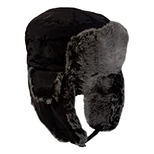 Ultrasport Winter Cap Bomber Style with Faux Fur - Black, Medium