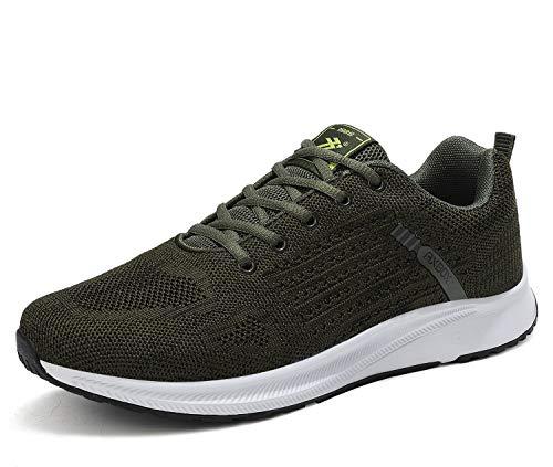 AX BOXING Herren Sportschuhe Damen Laufschuhe Sneaker Atmungsaktiv Leichte Wanderschuhe Trainers Schuhe Größe 36-46 (43 EU, Armee-Grün)