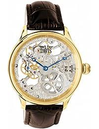 071cb390b561 Davis-0896- Reloj Hombre Esqueleto Mecánico Acero Oro Amarillo– Correa de Piel  Marrón B00BAB32L2