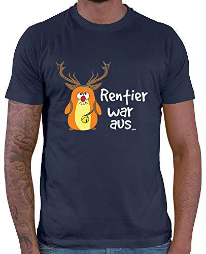 HARIZ  Herren T-Shirt Rentier War Aus Lustig Xmas Weihnachten Weihnachts Familie Liebe Plus Geschenkkarten Navy Blau L
