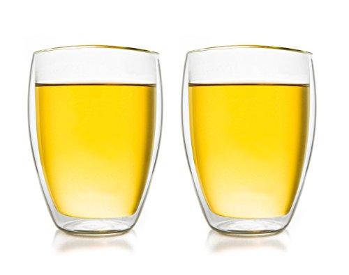 Verre isotherme à double paroi Creano 250ml '''hauteur DG'', ensemble de 2, grand verre résistant à la chaleur en verre de borosilicate, tasse à café / de thé