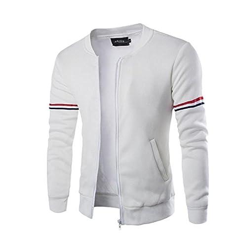 Coton Bomber Homme Hiver,OverDose Veste Baseball Boutonnée Sport Sweat Gilet Sweat Casual Jacket (M, Blanc)