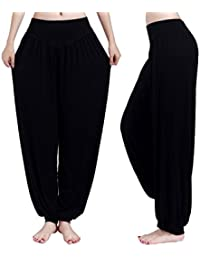 Demarkt Pantalon de Yoga Sarouels Pantalon Bouffant Elastique pour Femme Super Doux Modal