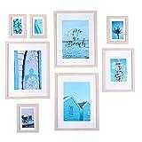 Conjunto de marcos para cuadros de madera de vidrio de alta definición para decoración de mesas y paredes en marcos de cuadros, marcos de madera clara - juego de 8