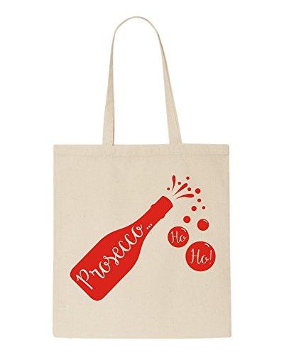 Weihnachten Prosecco HO HO. Tasche–perfekte Weihnachten Geschenk weiß