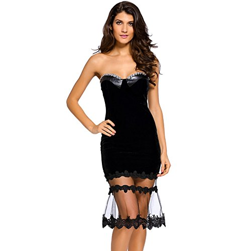 PU&PU Femmes Party / Cocktail Club Velours Maillot Patchwork Tube Mini Dress, sur l'épaule Black