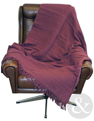 Just Contempo warme XL-Tagesdecke/Ãœberwurf für Sofa oder Bett, 100°% Baumwolle, Twin, Aubergine (Xl Twin Tagesdecken)