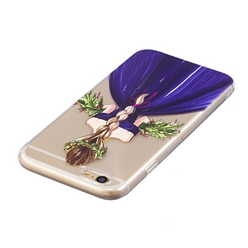 iPhone 6/6S Coque, Voguecase TPU avec Absorption de Choc, Etui Silicone Souple Transparent, Légère / Ajustement Parfait Coque Shell Housse Cover pour Apple iPhone 6/6S 4.7 (Bouledogue noir)+ Gratuit s Fille en jupe violet 01