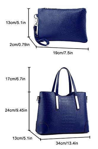 Blau Schulter Blau Set Handtaschen EssVita Leder Elegant Damen Beuteltote Tasche Schultaschen Yn1qSRz