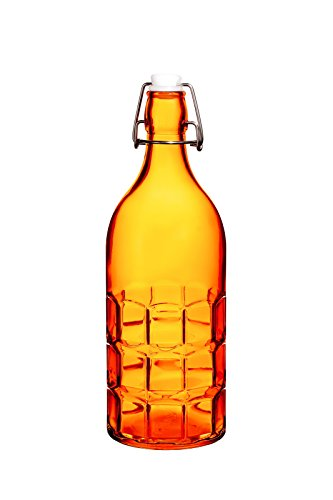 Colorful wiederverwendbar Glas Wasser Flaschen mit Swing Top Lecksicher Gap, 1l/34oz, Flowersea-Wasser Flasche für Öl, Essig, Getränke, Bier, Wasser, vom Kombucha, Kefir, Soda Grid Orange -