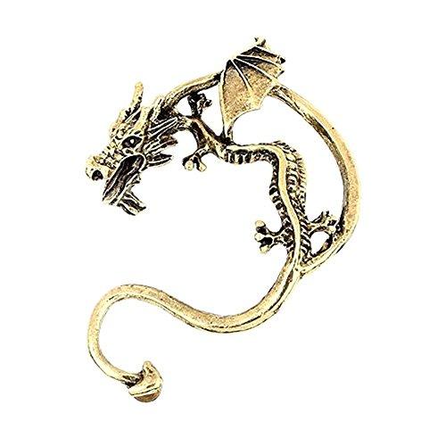 Retro Vintage Silber Bronze Punk Temptation Metall Dragon Bite Ear Cuff Clip Wrap Ohrring Ohrringe