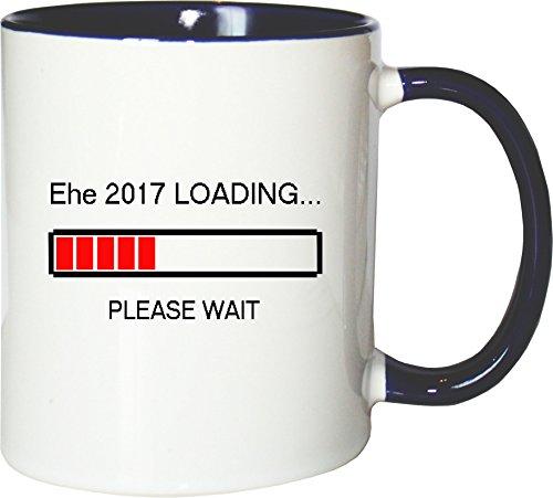 Mister Merchandise Kaffeebecher Tasse Ehe 2017 Loading Heirat Hochzeit Verlobung Teetasse Becher Weiß-Blau