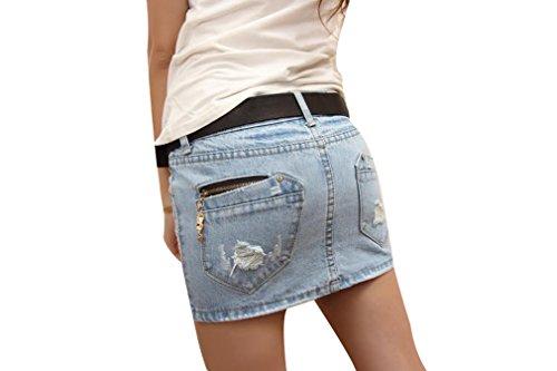 Yue Lian Damen Jeans Minirock Sommerrock Denim Jeansrock Partykleid Strandmode 34