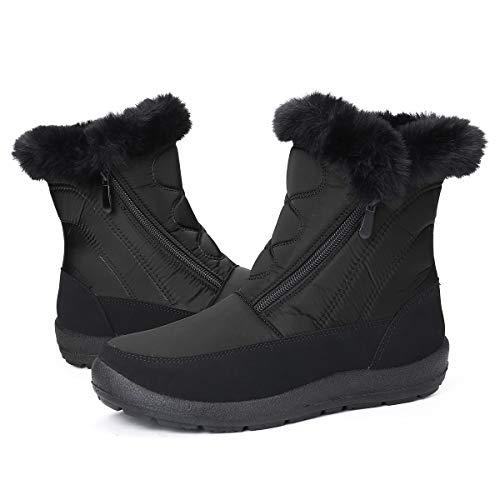 Gracosy Bottines de Neige Femmes Filles, Chaussures Ville Hiver Fourrure Bottes de Pluie Après Ski Imperméable Boots Fourrée Chaude pour Randonnée Pieds Larges, Noir, 40 EU