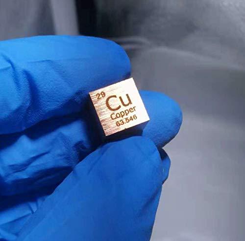 1 Stück Kupferwürfel, Metall Kupfer, Würfel 10x10mm, 8,9g, Cu Reinheit 99,95%