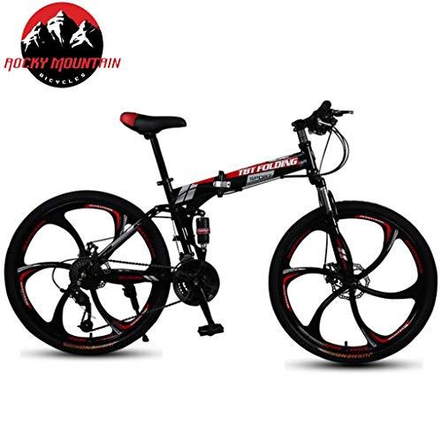 JLASD Bicicleta Montaña 26 Pulgadas Plegable Bicicletas De Montaña 21/24/27 Plazos De Envío Ligero...