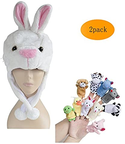 Pulama Winter Animal Beanie Hats, Short Cartoon Caps with 10 Finger Puppets (White Rabbit)