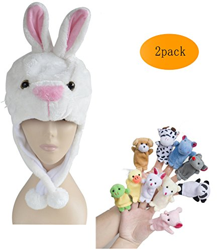 Pulama Winter Animal Beanie Hats, Short Cartoon Caps with 10 Finger Puppets (White Rabbit)