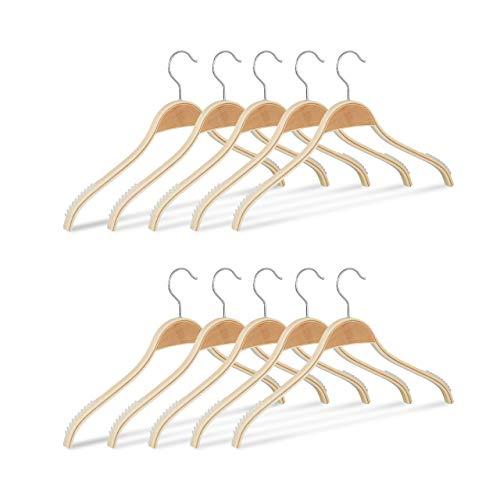 Lamelle Natur (Relaxdays Kleiderbügel Holz 10er Set, rutschfeste Lamellen, natürliche Optik, 360° drehbarer Haken, stabil, 40 cm, Natur)