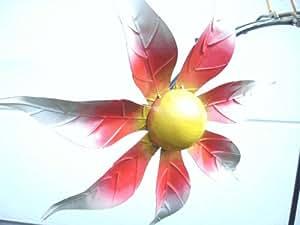 Windspiel Wippe Gartenstecker Garten aus Metall Glaskugel Deko Skulptur UVP 49,95, Vogel mitte mit Blüte