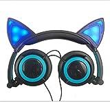 Lecc Cat Ear Headphones Auriculares estéreo de 3.5mm con Orejas Brillantes para niños Plegable Rotar Ear Stereo Headphone para niñas Cosplay Compatible con iPhone Android,D