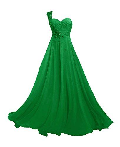 JAEDEN Femmes Une ¨¦paule Robes de demoiselle d'honneur Longue Mousseline de soie Robe de bal Robe de soiree Vert
