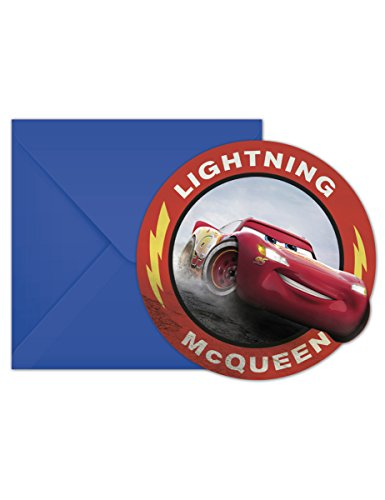 Procos Invitations avec enveloppes Cars The Legend, Multicolore, 5pr89472