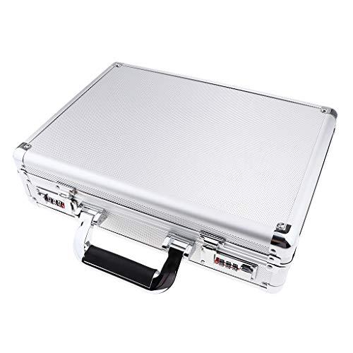 B Blesiya Profi Aluminiumkoffer Alukoffer Aluminiumkiste Werkzeugkiste Lagerbox, Abschließbar, Silber - 36 x 10 x 26 cm