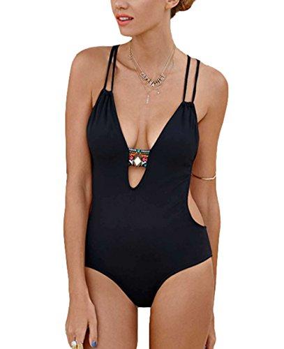 Y&L Hot V-Ausschnitt One-piece Bikini Neckholder Rückenfrei Monokini Sommer Strand Tragen Schwarz