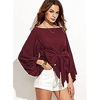 Gaoxu Camisas de las mujeres, europeo y americano de la palabra manga farol, camisas de cuello