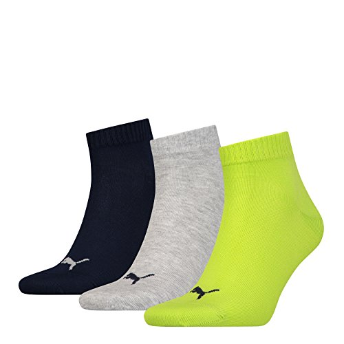 12 Paar Puma Unisex Quarter Socken Sneaker Gr. 35 - 49 für Damen Herren Füßlinge, Socken & Strümpfe:43-46, Farbe:064 - lime punch