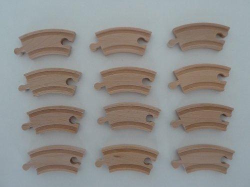 point-kids Holzeisenbahn 12x Schiene Kurve kurz Holz Set 12 Teile