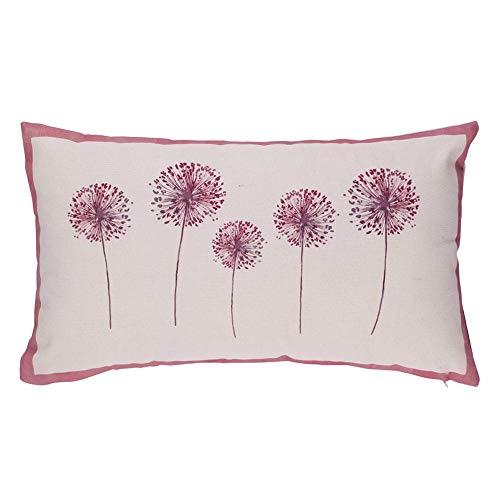 Liza line cuscino arredo per divano, letto, poltrona 100% cotone (vecchio rosa fiori palla - 50x30cm)