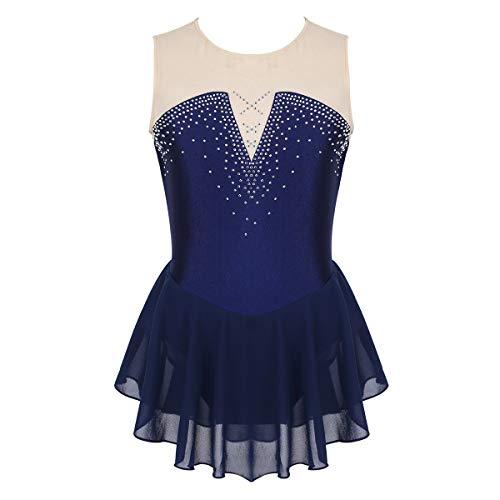 ranrann Maillot de Patinaje Artístico con Falda para Niña Vestido de Danza Ballet Diamantes Leotardo de Gimnasia Rítmica Baile Disfraz Bailarina Azul Marino 12 Años