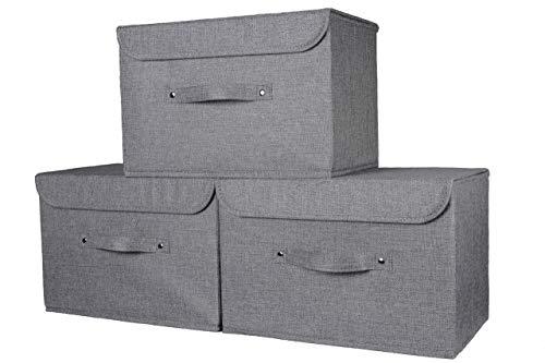 Magpie Aufbewahrungsbox aus Leinen/Jute, mit Deckel, ideal für Kleidung, Accessoires, Kleiderschrank, Schlafzimmer, Büro, Kunst und Handwerk, 37 x 25 cm, Magenta grau