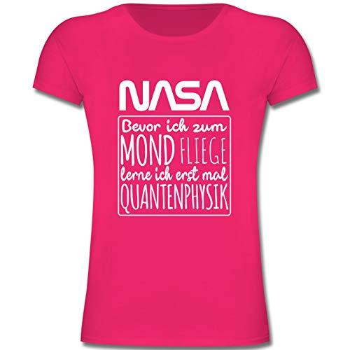Einschulung und Schulanfang - NASA Bevor ich zum Mond Fliege lerne ich erstmal Quantenphysik weiß - 164 (14/15 Jahre) - Fuchsia - F131K - Mädchen Kinder T-Shirt