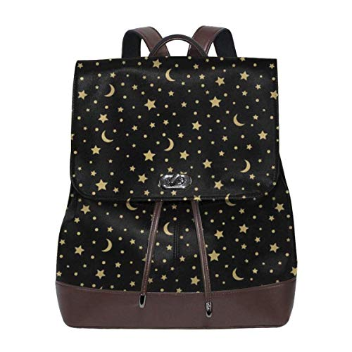 Flyup Women Backpack Purse Cool Gold Moon Stars Black Waterproof PU Leather Anti-theft Schoolbag Lightweight Rucksack Frauen Leder Rucksack - Leder Handtaschen Vera Aus Bradley