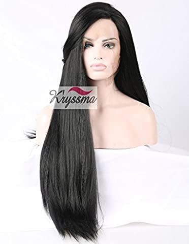 K'ryssma Natural Looking Long Black Yaki Straight Glueless Lace Front Wig for African American Women Synthetic Hair Light Yaki Full Wigs Heat Friendly 24 inches