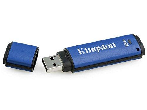 Kingston Kingston Datatraveler Vault (Kingston DTVP30AV 16GB Speicherstick USB 3.0 (256-Bit: Hardwareschlüsselung) blau)